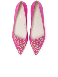 Sophia Webster Suede Bibi Butterfly Flats in Magenta & Rose Gold | FWRD