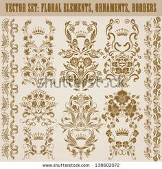 Set Of Vector Damask Ornaments. Floral Elements, Borders, Crowns For Design. Page Decoration. - 138602072 : Shutterstock