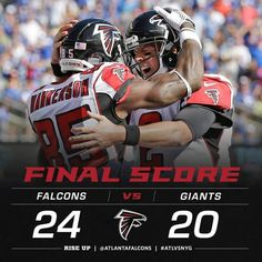 The Falcons finish off the comeback to beat the Giants and start the season 2015 Falcons Football, Football Helmets, Atlanta Falcons Rise Up, Nfc South, Football Season, Panthers, Comebacks, Seasons, Baseball Cards