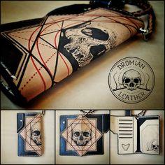 Tattooed leather wallet #tattooedleather #ink #tattoo #leatherwallet #handcraft #handmade #skulls Skulls, Leather Wallet, Ink, Tattoos, Handmade, Bags, Handbags, Tatuajes, Hand Made