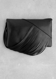 & Other Stories image 2 of Draped leather shoulder bag  in Black