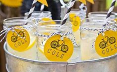 I can't believe it but I have never before featured a bicycle themed party on this blog. It's about time, I say. And this bike birthday party from Katie of Petite Social is the perfect inaugural party under that theme. Katie planned this event for her own son's birthday in under a week. The guests were asked to bring their bikes and helmets and parked them in the bike parking lot. In addition to riding around and just being kids, Katie set up cones and divided the kids into to tea...