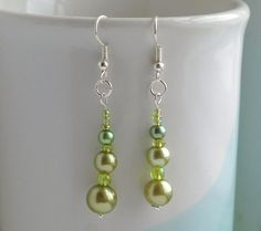 Lime green faux pearl and seed bead earrings by FfigysDesigns, £4.00