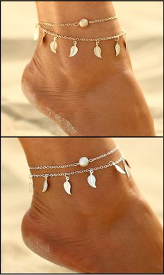 Now Only $12.99 - Golden or Silver leaf tassel double anklet. Buy yours now at Sale Price from www.FamilyDeals.Store.
