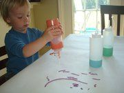 Puffy Paint  Mix equal parts flour/salt/and water....add food coloring. Pour into squeeze jars and enjoy! Its dries puffy and sparkly.    [Things your child can learn from this activity - scooping, pouring, stirring, mixing, counting, smells, colors, textures, etc etc etc]