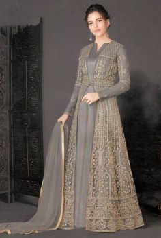 Dark Grey Net Designer Achkan Style Suit : or slit style salwar kameez is the latest design of fashion industry, it is widly accepted by the young girl and woman, is the of achkan or slit style salwar suits in Hijab Dress Party, Hijab Style Dress, Party Wear Dresses, Bridal Dresses, Dress Outfits, Fashion Dresses, Abaya Style, Indian Gowns Dresses, Pakistani Dresses