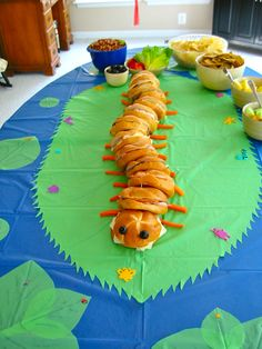 Caterpillar sandwich (I did this for a insect birthday party once. The kids loved it.)