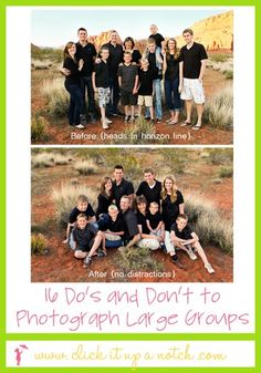Great ideas for posing photos (particularly with larger crowds).