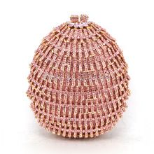 Women Champagne Luxury pink Crystal Soiree Pochette Clutch Circle Ball Shape Wedding Shoulder Lady Evening Bag