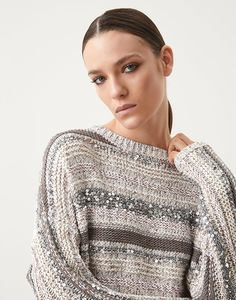 Dazzling sweater (211MAG371208) for Woman | Brunello Cucinelli Knitwear Fashion, Knit Fashion, Sequin Outfit, Knitting Charts, Classy Women, Brunello Cucinelli, Cardigans For Women, Knit Crochet, Ready To Wear