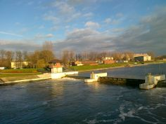 Opole, Odra River. Sluice on the river.