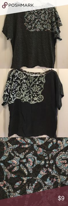 Top from Language with 4 different patterns soft Casual cool blouse , material is soft &  this top by language is a size small . Wear  with a pair of leggings and a cute boots . warm yet light material 100💯%cotton on the front & 💯%  rayon in the back . Funcool green top🎀 language Tops Blouses
