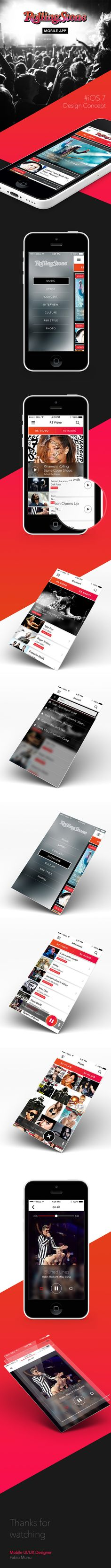 RollingStone mobile app, Design concept by Fabio Murru, via Behance