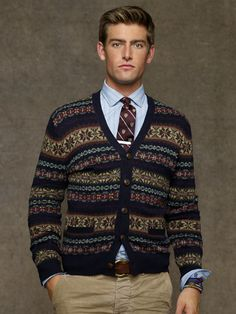 Fair isle v-neck cardigan - cardigan & full-zip sweaters Fair Isle Pullover, Pullover Mode, Preppy Sweater, Zip Sweater, Gilet Costume, British Style Men, Preppy Mens Fashion, Herren Outfit, Winter Stil