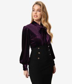 Purple Shirt Outfits, Purple Blouse, Vintage Brand Clothing, Retro Clothing, Dark Purple Dresses, Dark Purple Aesthetic, Ripped Shirts, Velvet Tops, Velvet Shirts