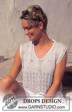 Women - Free knitting patterns and crochet patterns by DROPS Design Sweater Knitting Patterns, Lace Knitting, Knitting Designs, Vest Pattern, Top Pattern, Free Pattern, Drops Design, Summer Knitting, Lace Patterns
