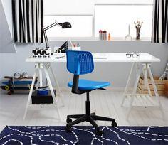 Bureau met bureaustoel Stationary, Ikea, Desk, Furniture, Home Decor, Desktop, Decoration Home, Room Decor, Writing Desk