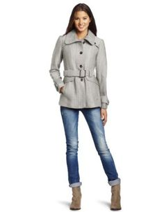 Green with Envy Juniors Belted Wool, Light Heather Grey, Small Green with Envy. $39.99