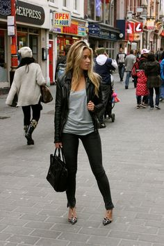 So simple. So cute. Love the black skinnies and the moto.