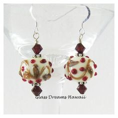 Holiday Glass Dangle Earrings, Festive Glass Dangle Earrings, Hawaii... ❤ liked on Polyvore featuring jewelry, earrings, evening jewelry, beads jewellery, long earrings, holiday earrings and special occasion jewelry