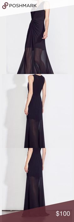 Ali and Jay long black gown NWT. Offers accepted. Long black gown. The back has a little bit of a train. 100% polyester. Lined as a mini as seen in stock photo. Zipper in back. Ali & Jay Dresses Maxi