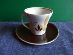 Vintage USSR Latvia Riga PFF Small Cofee Cup Saucer Gold White Brown  1950s #31
