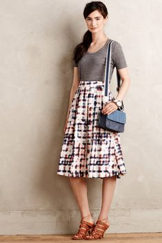 Sketched Plaid Midi Skirt - anthropologie.com