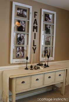 Family photo gallery using old windows as frames.  Love the simple arrangement.