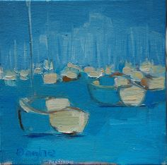 SailBoats in a Mooring Field  - original oil painting. $40.00, via Etsy.