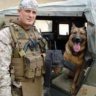 Gunnery Sgt. Christopher Willingham is shown here with Lucca, his military working dog. She was specially trained to find explosives. While working together in Afghanistan, Lucca lost a leg to an explosive in Afghanistan. As any good soldier knows, no one gets left behind, so Willingham adopted her.