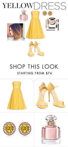"""""""Yellow Dress contest"""" by sosfamforlife ❤ liked on Polyvore featuring Alexander McQueen, Casadei, Allurez and Guerlain"""
