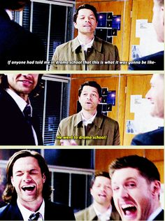 "[GIFSET] S9 Gag Reel :D ""He went to drama school!"" Misha Collins - Supernatural gag reel. Supernatural Funny"
