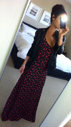Blu Moon floral maxi and Vince leather jacket - adore this
