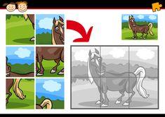 Cartoon paard puzzel spel Premium Vector