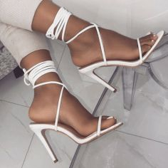 Don't miss these white lace up stiletto heels on Your Next Shoes! Don't miss these white lace up stiletto heels on Your Next Shoes! Long Floral-Print V-Neck Prom Dress with Sequins Graduation Shoes, Stiletto Heels, Shoes Heels, Heeled Sandals, Sandals Outfit, Formal Heels, Next Shoes, Prom Heels, Shoes For Prom