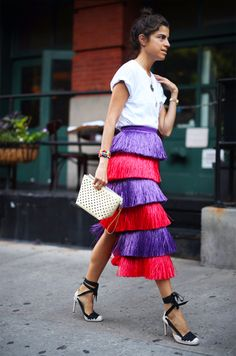 Dress up a plain white t-shirt with a multi colored skirt!