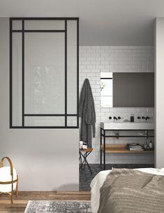 Une cloison verrière pour réunir salle de bains et chambre | Styles de Bain New Homes, Doors, Mirror, Bathroom, Lyon, Interior, Dreams, Inspiration, Furniture