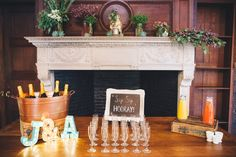 a bridal shower mimosa drink station with sip sip hooray chalkboard at Willowdale Estate, Topsfield Massachusetts venue for weddings and events. willowdaleestate.com