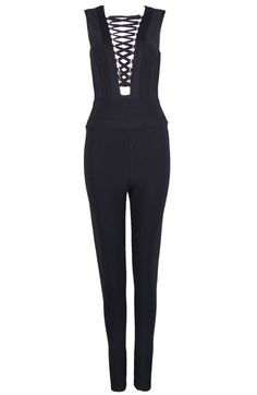 c1f13303263f Plunge Lace Up Bandage Jumpsuit Black