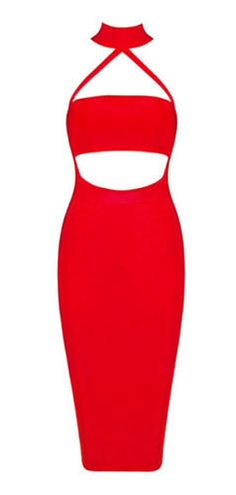 sexy, body-con fit, length below knee, back zipper, cutout detail dress front, halter neck Material- 90% rayon /9% nylon/ 1% spandex/ mesh Color - Red Size - X-Small, Small, Medium, Large ( email us i
