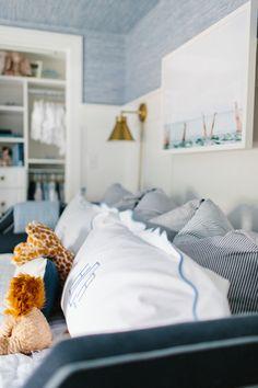 Nautical Nursery Boys Bedroom Blue Wallpaper by Abby Capalbo Blue Bedroom, Kids Bedroom, Bedroom Ideas, Bedroom Designs, Master Bedroom, Baby Boy Nurseries, Baby Cribs, Nursery Inspiration, Nursery Design