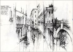 Venetian Canal by Ian Murphy Building Sketch, Building Art, Watercolor Architecture, Art And Architecture, Sketchbook Inspiration, Art Sketchbook, Cityscape Drawing, Drawing Sketches, Art Drawings