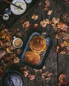 Extra large savory pancakes on a Autumn morning