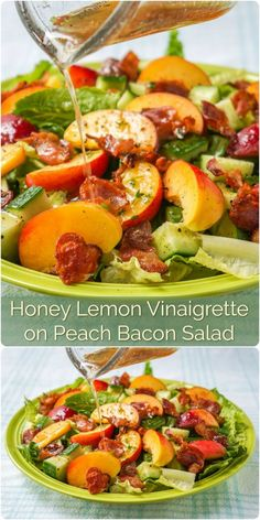 Honey Lemon Vinaigrette on Peach Bacon Salad. A vinaigrette recipe that goes particularly well with salads containing summer fruits and berries like peaches and plums or strawberries & raspberries. Clean Eating, Healthy Eating, Lemon Vinaigrette, Cooking Recipes, Healthy Recipes, Healthy Salads, Rock Recipes, Healthy Food, One Pot Dinners