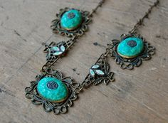 vintage Czech necklace / 1920s jewelry / CHINOISERIE. $210.00, via Etsy.