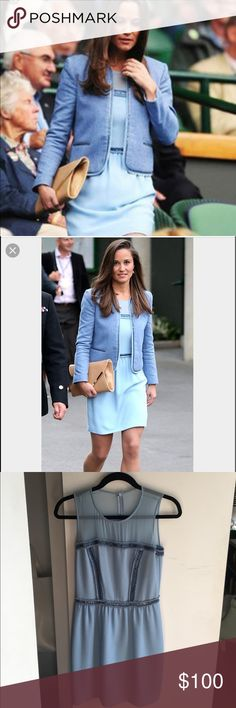 Sandro Pale Blue Dress (Seen on Pippa Middleton) Above the knee embroidered, polyester dress seen on Pippa Middleton at Wimbledon. Gorgeous detailing and sheer neckline. In pristine condition. Size 1 in UK which is a US small equivalent Sandro Dresses Midi
