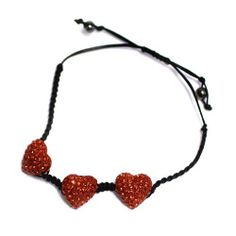 Heart Drawstring Bracelet; Black Cord; Red Rhinestone Heart Charms; Drawstring Closure; Eileen's Collection. $19.99. Save 50% Off!