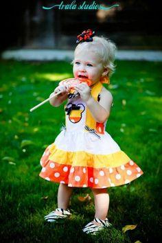 Candy Corn Minnie Mouse applique dress ~ cute!