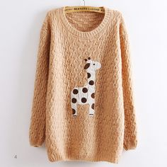 Pink Super Adorable Cartoon Giraffe Loose Pullover Sweater...OMG can someone please get me this?! too cute!