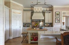 Farmhouse Kitchen | Visual Comfort Lighting | Mushroom Kitchen Cabinets | Shiplap Walls | Glass Tile Backsplash | Rustic | Designer: Susan Lovelace | Lovelace Interiors